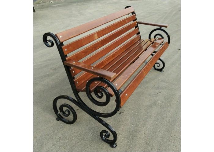 Кованная парковая скамья Французская лоза с подлокотниками