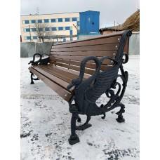 Чугунная парковая скамейка Лебеди 2 м.