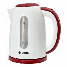 Чайник электрический 2200 Вт, 1,7 л DELTA DL-1106 белый с бордовым