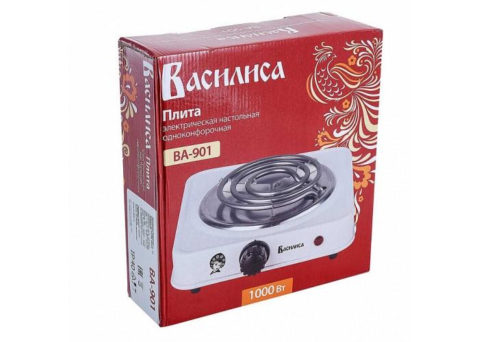 Плита электрическая 1000 Вт настольная 1-конфорочная ВАСИЛИСА ВА-901 белая