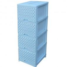 Комод пластиковый, БЕЛЫЙ 4 секции, сетка,  арт.04044-4