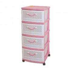 Комод пластиковый, 4 секции, цвет розовый, арт.ОР100