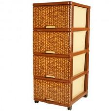 """Комод пластиковый , цвет коричневый, """"Дуня"""", Dunya Plastik, 4 секции, арт.04033"""