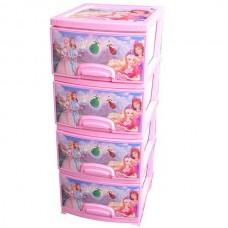 """Комод детский пластиковый """"Принцессы"""". цвет розовый. арт.ОР-145-П-4"""