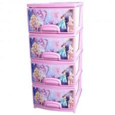 """Комод детский пластиковый """"Феи"""", цвет розовый, 4 секции, арт.ОР-145-Ф-4"""