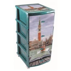 Комод пластиковый ВЕНЕЦИЯ(моно рисунок) бирюзовый арт. ОР-160 ВН