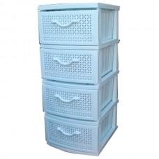 Комод пластиковый, сетка, цвет белый, 4 секционный, арт.ОР-100