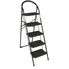 Стремянка SevenBerg Prima Lux черная 5 широких ступеней