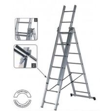 Лестница-стремянка SevenBerg 3x14 алюминиевая трехсекционная 920314