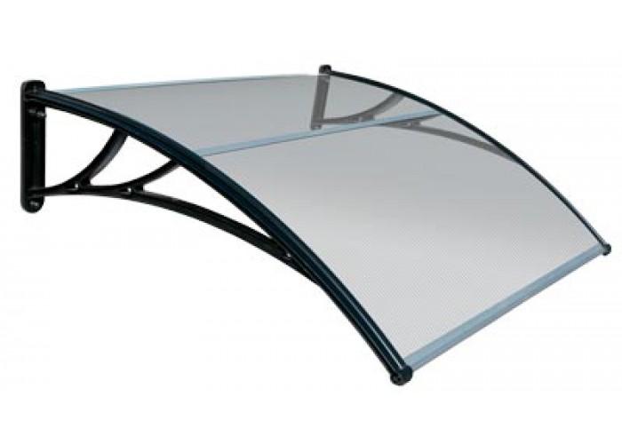 Козырек усиленный шириной 1,5 м. с прозрачным поликарбонатом и черным кронштейном