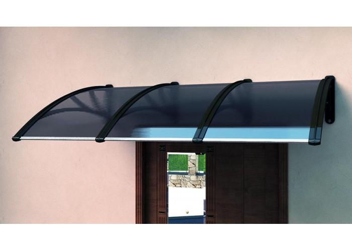Козырек над крыльцом Алмарта шириной 2,2 м. с бронзовым поликарбонатом и коричневым кронштейном