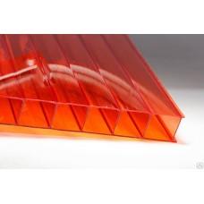 Сотовый поликарбонат 4 мм. красный