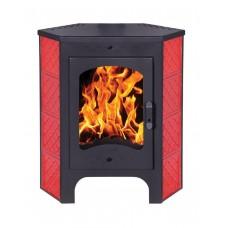 Печь-камин БАВАРИЯ пристенно-угловя с теплообмеником Изразец красный